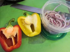 Red Pepper, Yellow Pepper, Red Onion