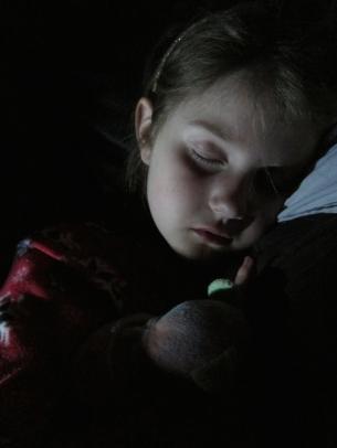 Thing 2 asleep. She's still fighting something.