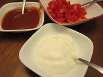 Greek yogurt, taco sauce & fresh, plump, Roma tomatoes.