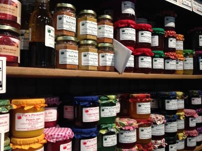 Pat's Preserves on the shelf at Noggins.
