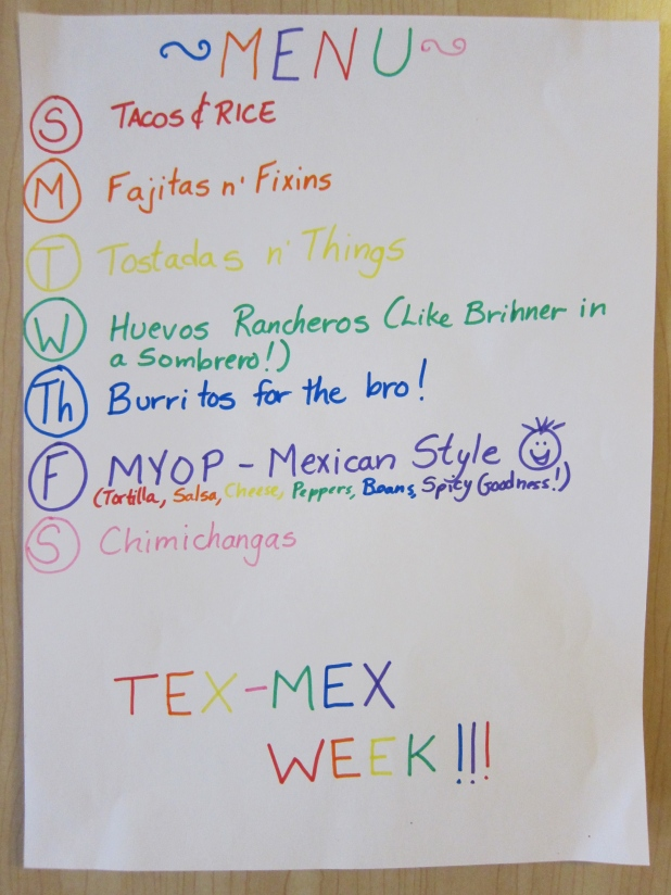 Tex-Mex Week Menu