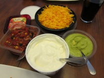 """These are some of our favourite toppings. Guacamole (Yucatan), Sour Cream, Salsa (Sabra makes a great """"Southwest"""" version), """"Shreddar"""" cheese."""