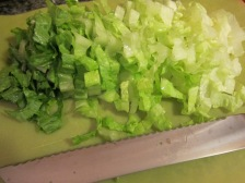 See how nice and thinly sliced the lettuce is? This is no time for giant hunks of Romaine.