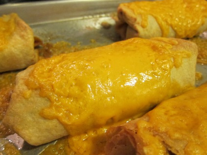 Melted cheese on a crispy Chimichanga.