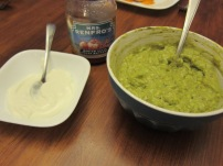Chimichanga condiments.