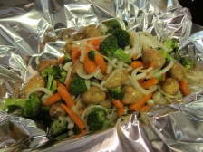 Turn the veggies out onto the foil.