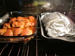 About 10 minutes before the timer goes off remove the foil from the chicken.