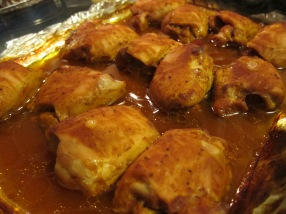 These are air chilled chicken thighs dressed with Stubb's Original BBQ sauce. Yum!