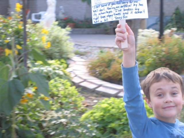 Thing 1 with his sign.