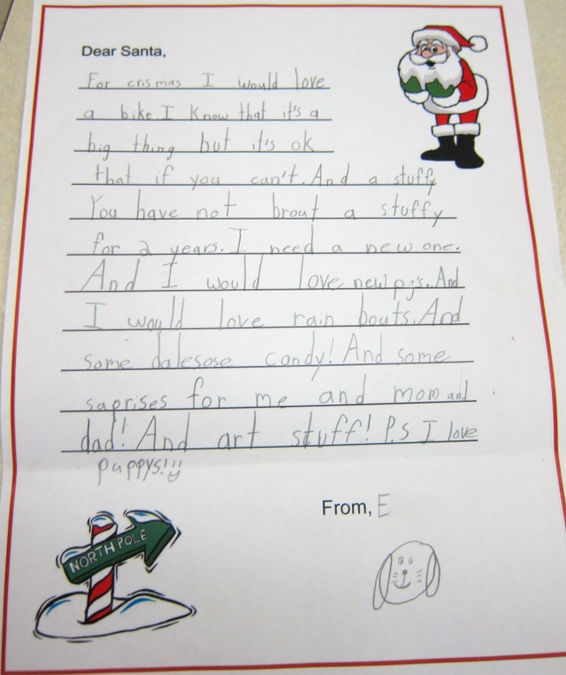 Thing 2's Santa Letter
