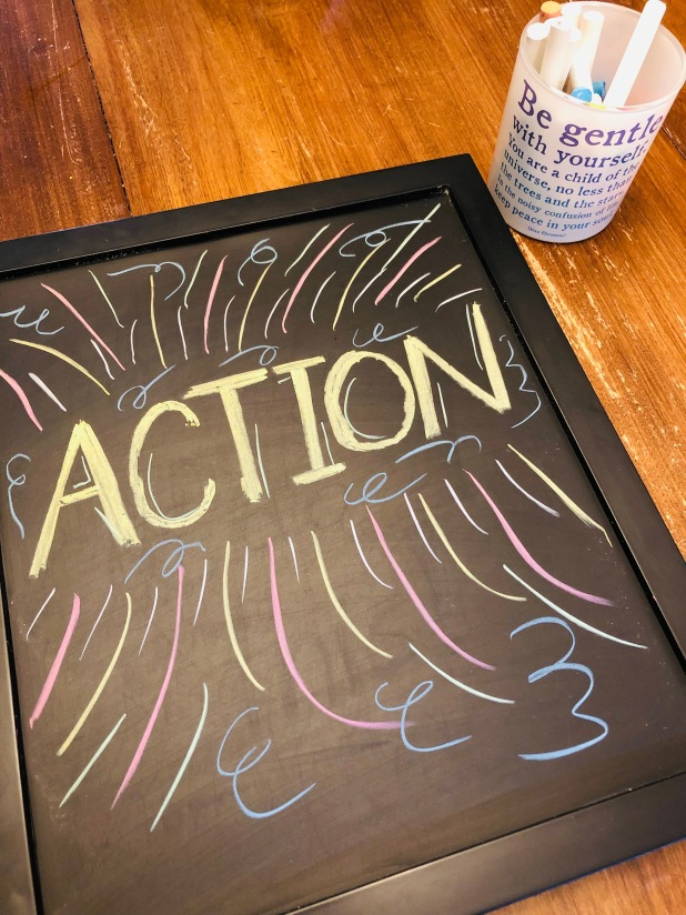 ACTION, word of the year, DIY chalkboard photo frame, chalk, just do it, 2019, Happy New Year, New Year's resolutions, resolutions, intention, set an intention, good intentions, will